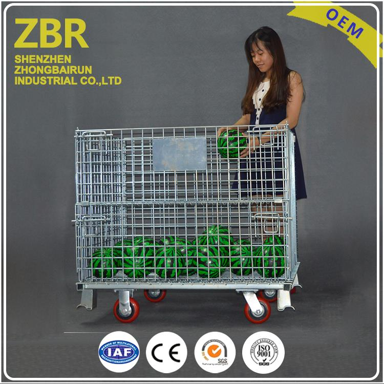 Steel Wire Mesh Container Stacking Stainless Pallet Cage Hinges with Wheels