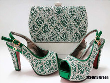 Italian ladys 12CM heel party women shoes and bag set