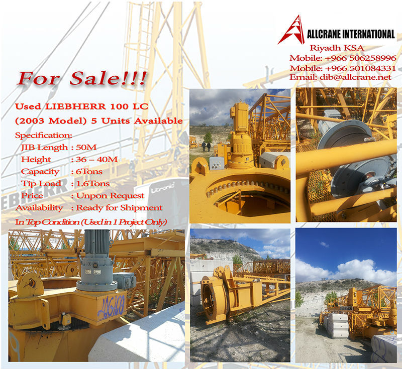 For SALE LIEBHERR Tower Crane 100LC