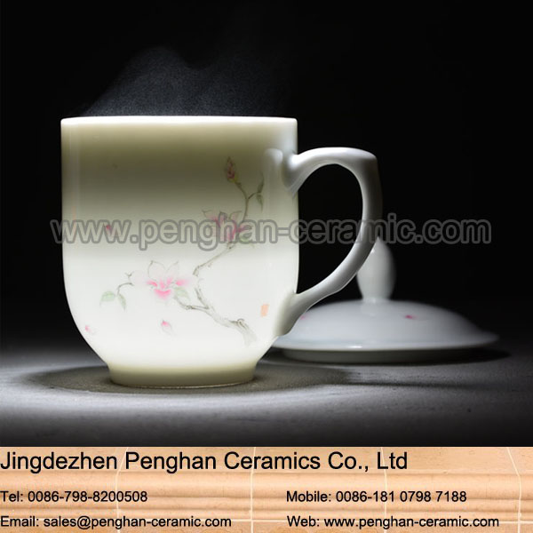 Chinese wholesale hand painted travel white coffee ceramic mug