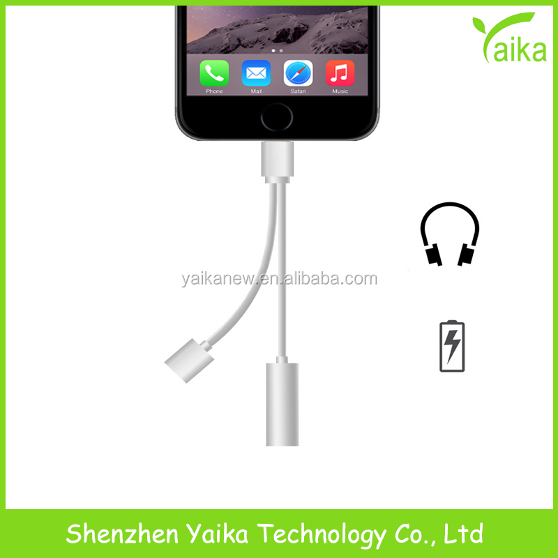 Yaika 2 in 1 3.5mm Headphone 8pin Charging Audio <strong>Adapter</strong> For iPhone 7 7 Plus