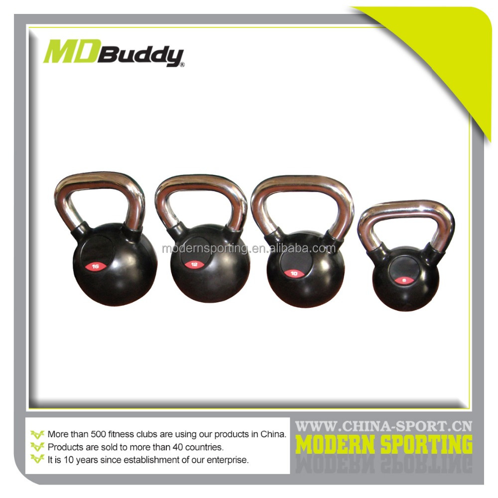 chromed handle rubber kettlebell with rubber bottom