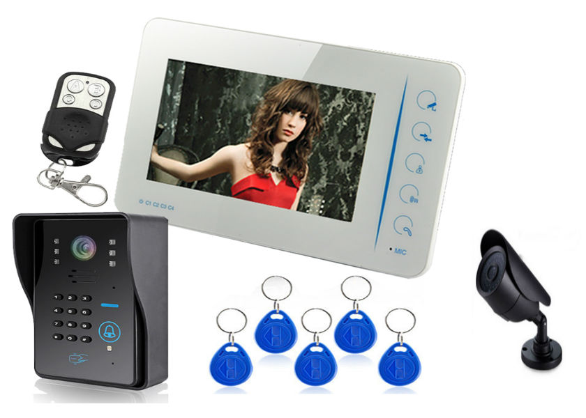 "HOT SALE self-designed High resolution 7""tft-lcd color multi apartments video door phone door bell parts VIDEO DOOR BELL"