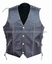 Custom men cheap leather motorcycle cooling vest