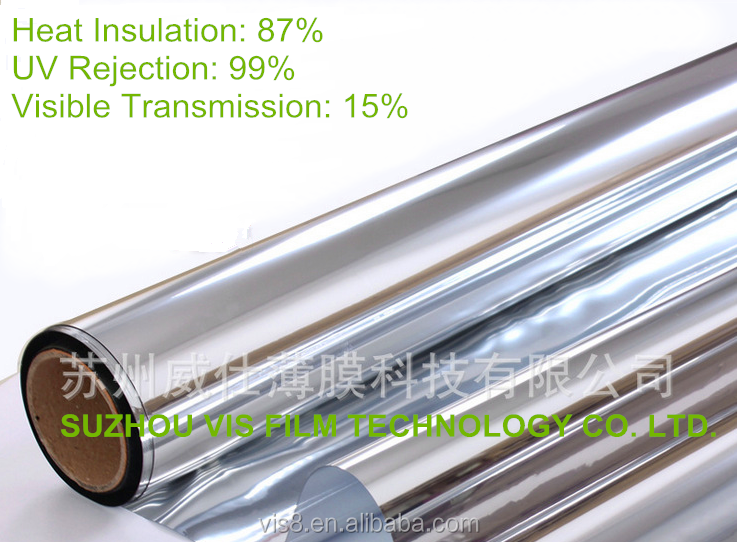 High Reflective Silver Window Film, Reflective,Tinted, Mirrored Solar Control Window Films, VLT 15%