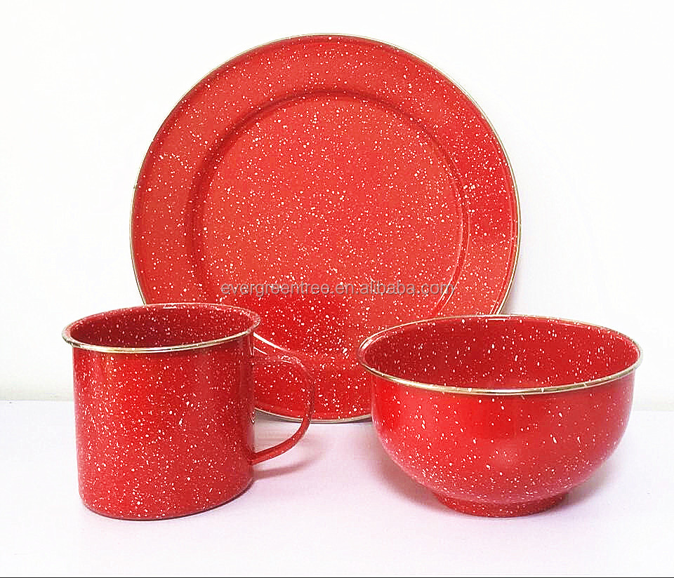 Red Tableware/dinnerware Set  Plate/bowl/mug With Speckle And Stainless  Steel Rim   Buy Red Enamel Metal Tableware Set,Enamel Metal Dinnerware Set,Speckle  ...