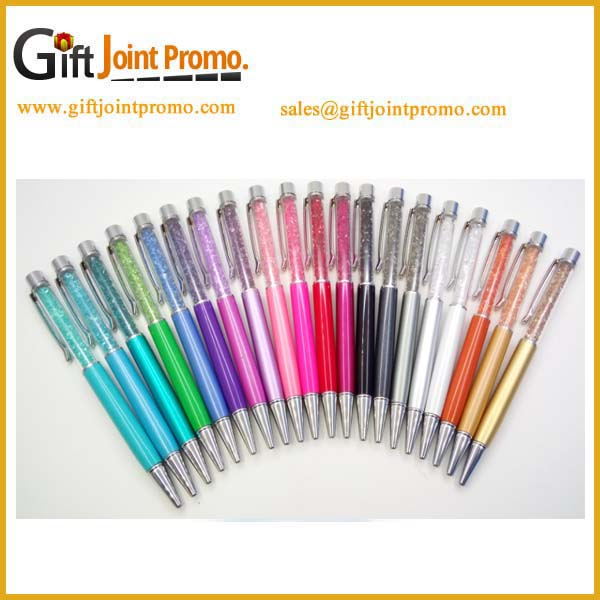 Promotional Logo printed metal crystal ball pen for gift