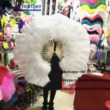Wholesale carnival costumes mei red ostrich feather fans for dancing