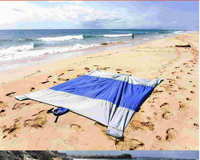 2017 Compact ultra big size beach throw pocket blanket, strong ripstop outdoor rug with sand anchor pockets
