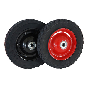 "6"" inch red metal hub solid rubber lawn mower rubber wheel for hand cart and trolley"