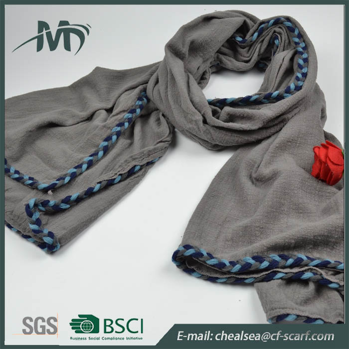 winter lace solid thick cotton scarf latest design shawl