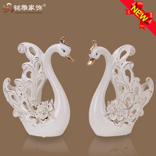 high quality elegant design ceramic swan figurine for wedding souvenirs