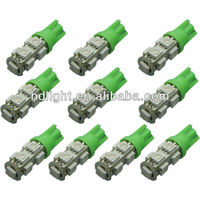 10 pcs T10 5050 9SMD Side Light 194 168 W5W Green LED Wedge Indicator