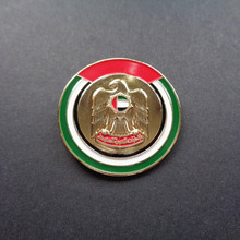 Round shape golden enameled UAE flag color design 3D falcon logo magnetic lapel pin for 46th UAE national day