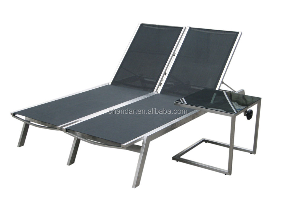 stainless steel in PVC fabric double sun lounger
