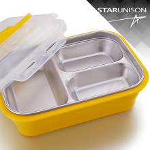 New product SS304 3 compartment bento stainless steel lunch box with spoon