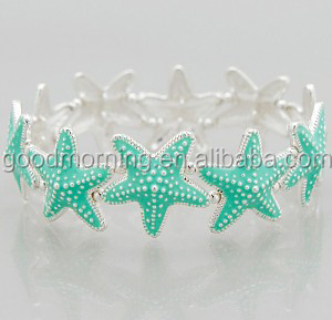 Enameled Starfish Linked Stretch Bracelets