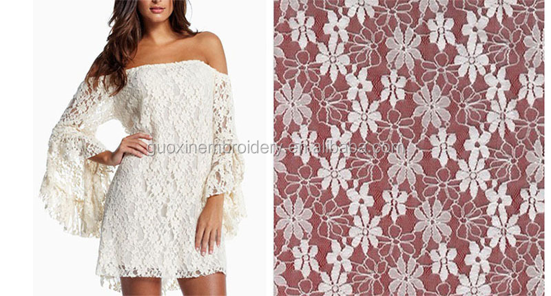 2014 fashion dress fabric nylon lace fabric bonded lace fabric