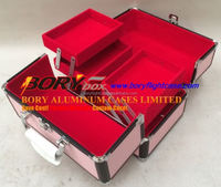 Pink Lightweight Makup Train Case With Top Handle