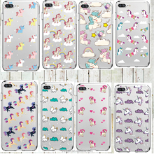 Cute Rainbow Unicorn Case for iPhone 6 6s 5 5s SE 7/7Plus Transparent Portuguese Design Soft Silicone Case Capa