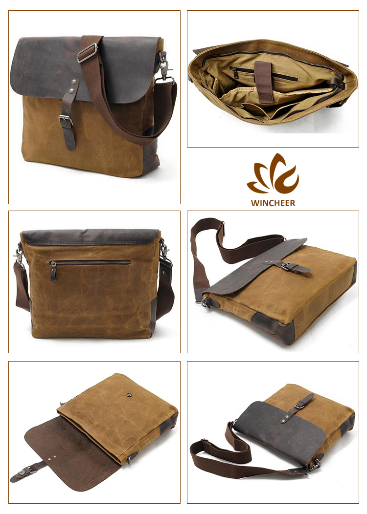 High quality canvas bag with leather trim, canvas cotton bag, waxed canvas bag