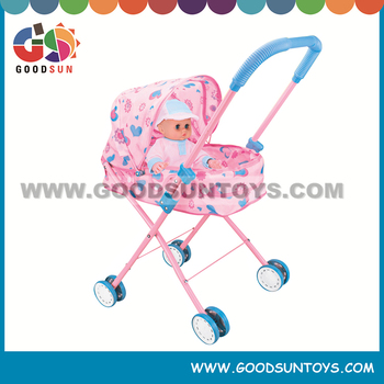 Fashionable doll pram metal baby doll pram with doll for kids