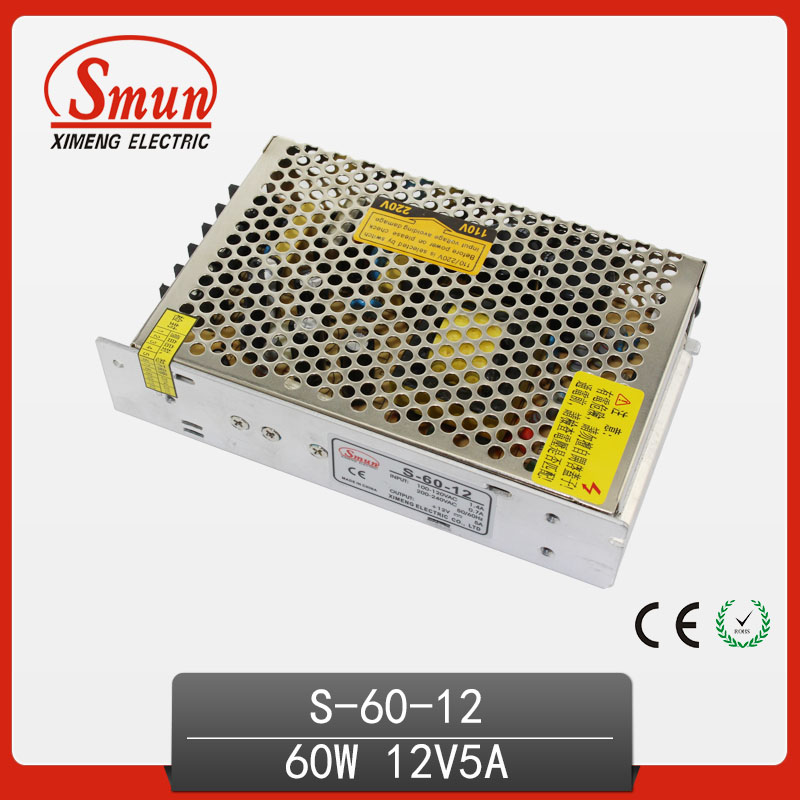 60W 12V 5A Switching Mode Power Supply For Lighting System S-60-12