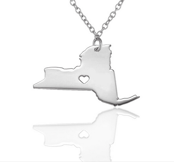 Wholesale fashion china factory stainless steel New York map pendant