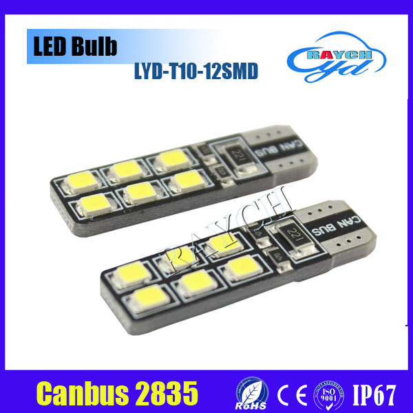 Top sale factory directely-sale led car light T10 canbus 194 12smd 2835 canbus bulb