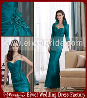 M023 Turquoise Long Mother Of The Bride Dress And Jacket