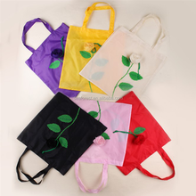 compact nylon multicolor rose shape reusable foldable shopping bag