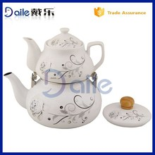 Decal flower turkish double tea pot kettle set 0.75L ceramic water kettle and 2.2L enamel water kettle