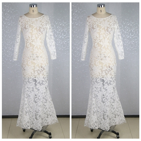 MLC1308 Women Lady White Lace Bridesmaid Evening Formal Party Cocktail Dress