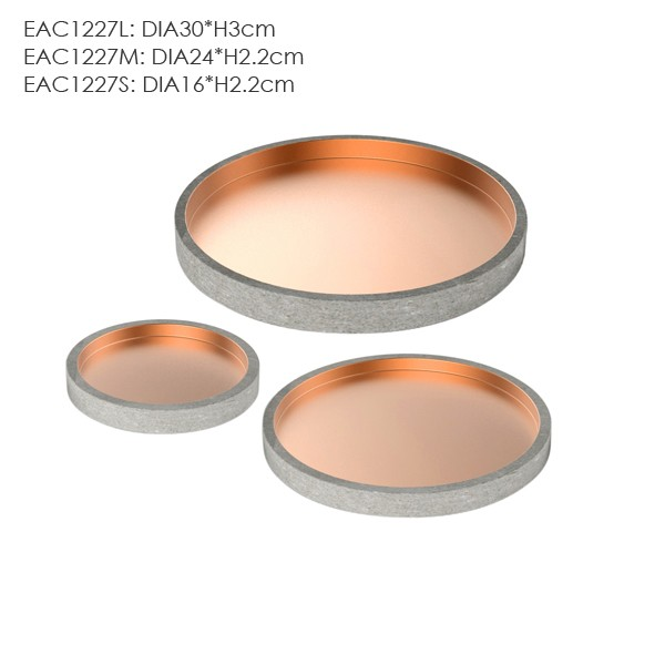 Copper inside round concrete tray / acrylic serving tray for personalized customized