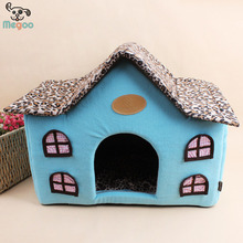 Polar Fleece Winter Warm Pet Bed House With Detachable Leopard Print Cover