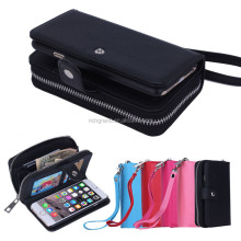Leather Wallet zipper hand bag mobile phone pouch case for iphone 5 6 6plus