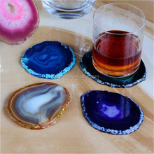 AB0216-1 Wholesale slate coaster,slices natural stone agate coaster set,cup coaster