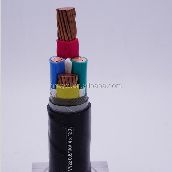 PVC insulated PVC shaethed 4 cores electric cable