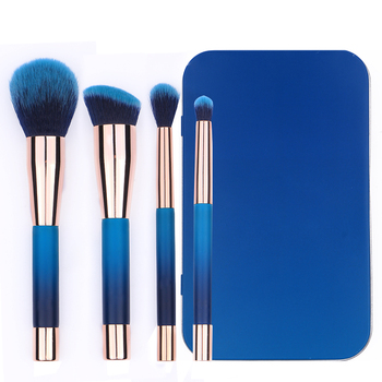 NEW Design 4PCS Gradient Blue Luxury Makeup Brush Kits with metal box