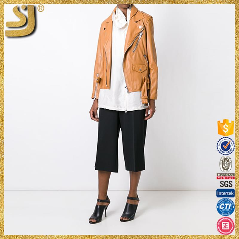New Arrival motorbike heavy weight leather jackets, ladies unique peplum zip trims leather jacket