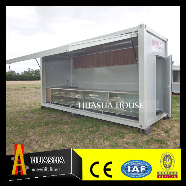 Fast install demountable folding coffee bar container
