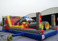 New design inflatable giant race car obstacle course for kids