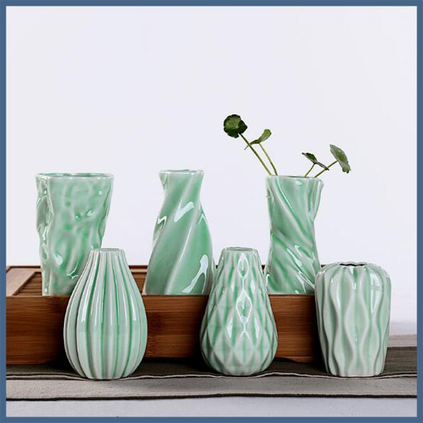 Fancy jade green mini ceramic vase for home decor
