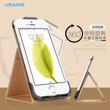 USAMS Luxuriant PU+PC protective Back Case with 360 degree rotation bracket for iPhone 6