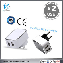 5v 4a charger usb 2 port usb dual usb travel wall charger with CE TUV SAA