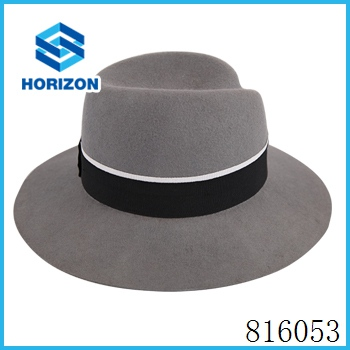 Formal felt fedora church wool hat blank ribbon and rope accessory style