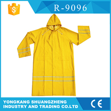 yellow PVC long raincoat with reflective tape