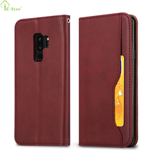 Card Holder Slots Magnetic Folio Closure Wallet Flip Case For Samsung Galaxy S9 Plus