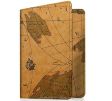 Multifunction PU leather passport case cover with world map printing