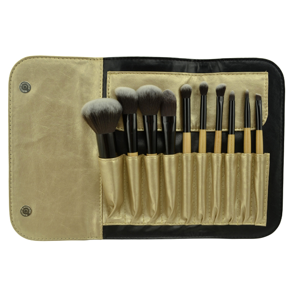 Professional classic black 10pcs make up brush set with cosmetic PU bag